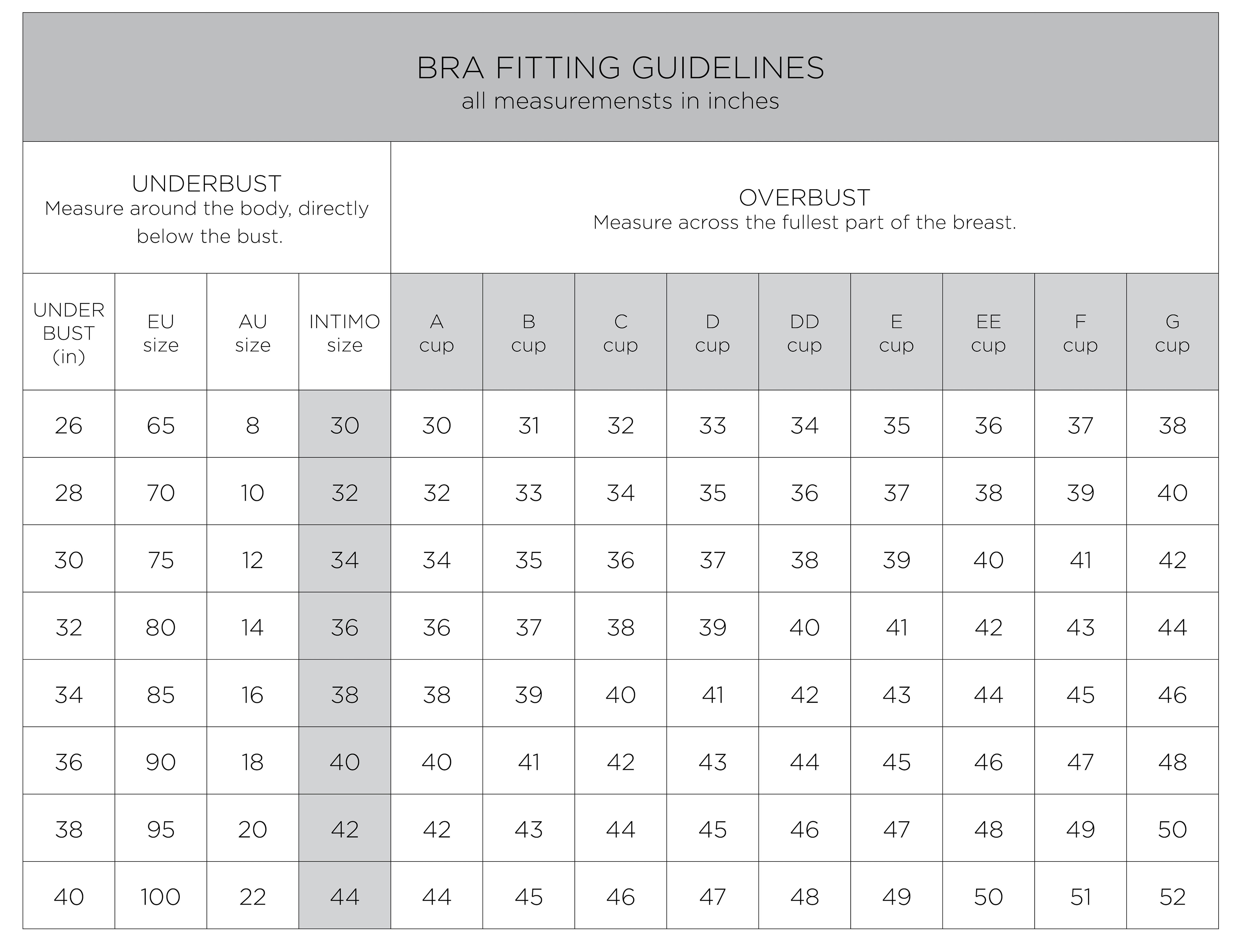 SIZING   Intimo Lingerie